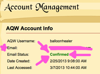 account management confirmed