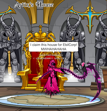 Pink EbilCorp takeover in online adventure game