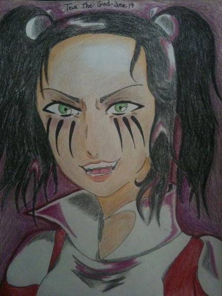 Kimberly one eyed doll colored pencils