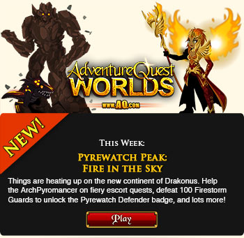 new game release in adventure quest worlds pyrewatch peak fire in the sky