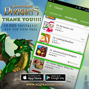 AdventureQuest Dragons climbing the list!
